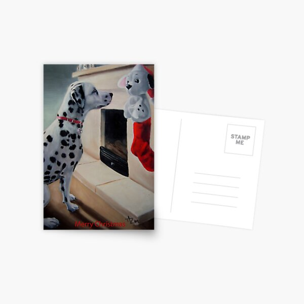 Christmas Is Coming! (Dalmatian Christmas card with greeting on front) Postcard