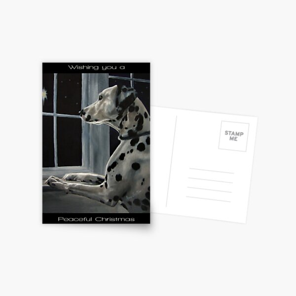 Silent Night (Dalmatian Christmas card with greeting on front) Postcard