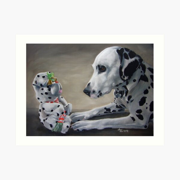 Little Friend With Bells On (Dalmatian and Christmas toy) Art Print
