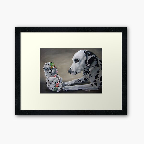 Little Friend With Bells On (Dalmatian and Christmas toy) Framed Art Print