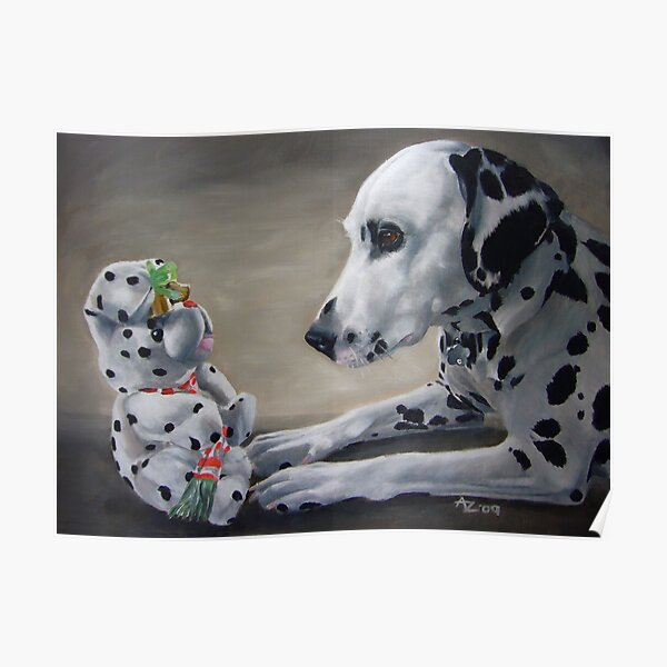 Little Friend With Bells On (Dalmatian and Christmas toy) Poster