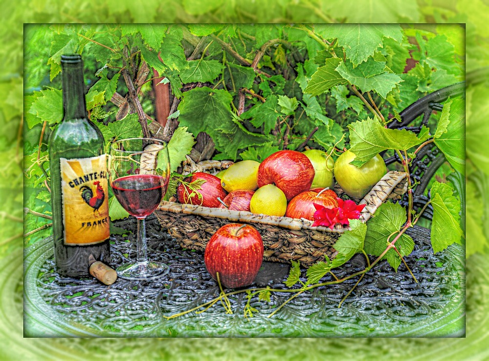 wine and fruit by suzydoodle