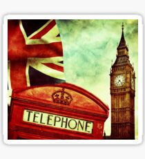 Vintage Retro Big Ben Clock and Red Box in London Sticker