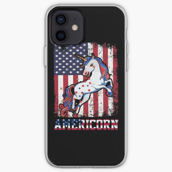 Americorn funny patriotic unicorn usa flag iPhone Soft Case