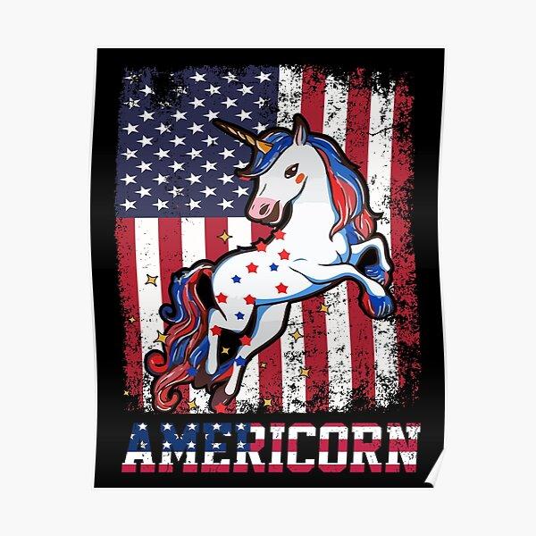 Americorn funny patriotic unicorn usa flag Poster