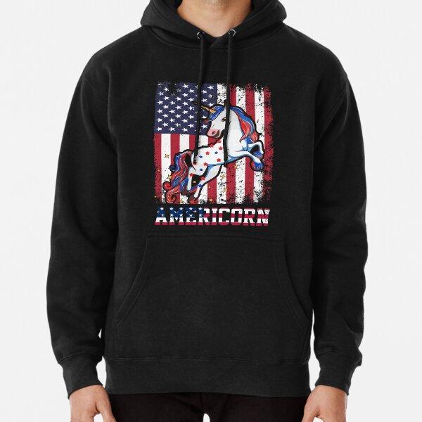 Americorn funny patriotic unicorn usa flag Pullover Hoodie