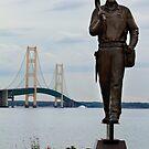 Ironworkers Statue and Mackinac Bridge by Jim C. Hines