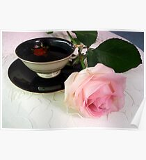 Beauty in Pink - Rose and tea cup Poster