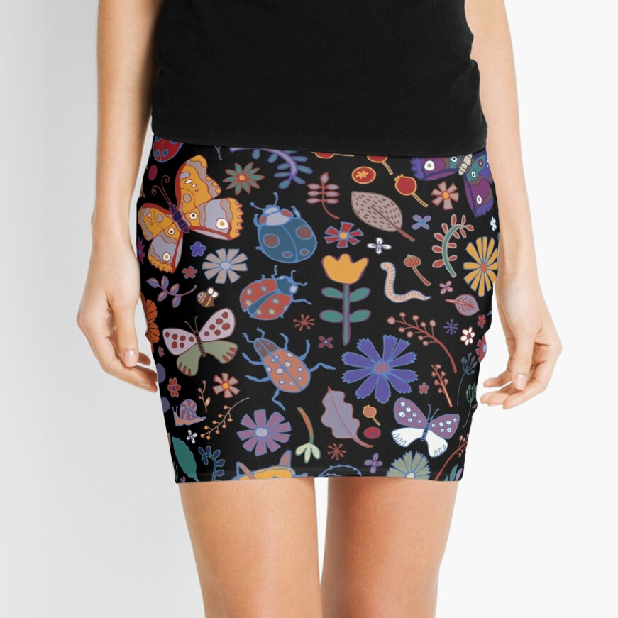 Butterflies, beetles and blooms - black - pretty floral pattern by Cecca Designs Mini Skirt