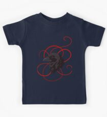 Black Raven with Red Ribbon Custom Design Kids Tee