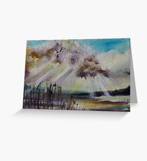 Beach Sun Clouds Contemporary Acrylic Painting Greeting Card