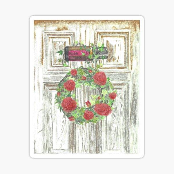 Essential Oils Rose Wreath Sticker
