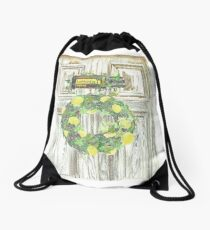 Essential Oils Lemon Wreath Drawstring Bag