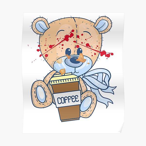 Coffee zombie bear Poster