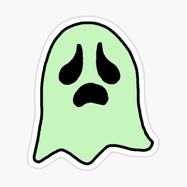 Sad Green Ghostie Sticker