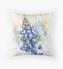 Texas Bluebonnet Wildflower Watercolor Throw Pillow