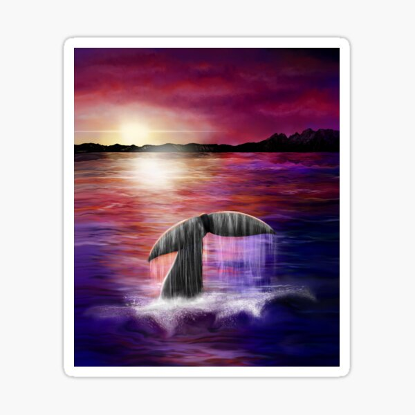 Whale Tail Painting at Twilight Sticker