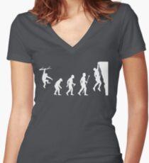 Funny Rock Climbing Evolution T Shirt Women's Fitted V-Neck T-Shirt