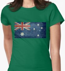 The National flag of Australia, retro textured version (authentic scale 1:2) Womens Fitted T-Shirt
