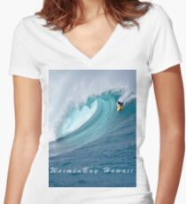 Waimea Bodyboarder T-Shirt Women's Fitted V-Neck T-Shirt