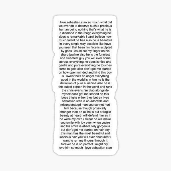 Sebastian Stan Paragraph Design Sticker