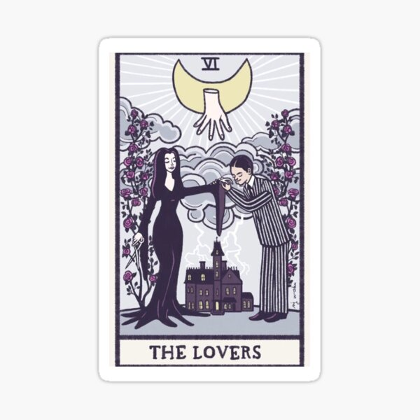 The lovers - tarot - Addams family Sticker