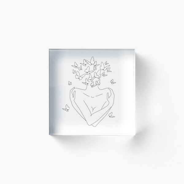 Love yourself. Love your body concept.  Acrylic Block