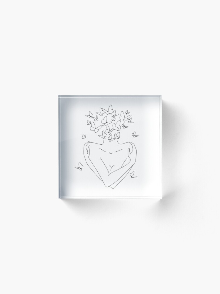 Alternate view of Love yourself. Love your body concept.  Acrylic Block