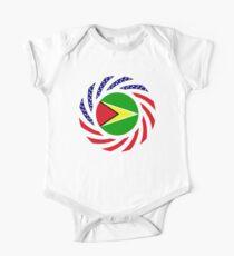 Guyanese American Multinational Patriot Flag  Short Sleeve Baby One-Piece