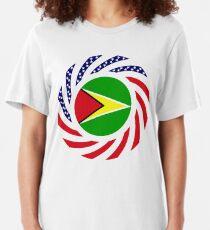 Guyanese American Multinational Patriot Flag  Slim Fit T-Shirt