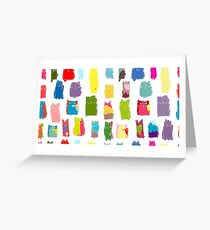 Texture with colorful cats with curved tails. Can be used for textile, website background, book cover, packaging. Greeting Card