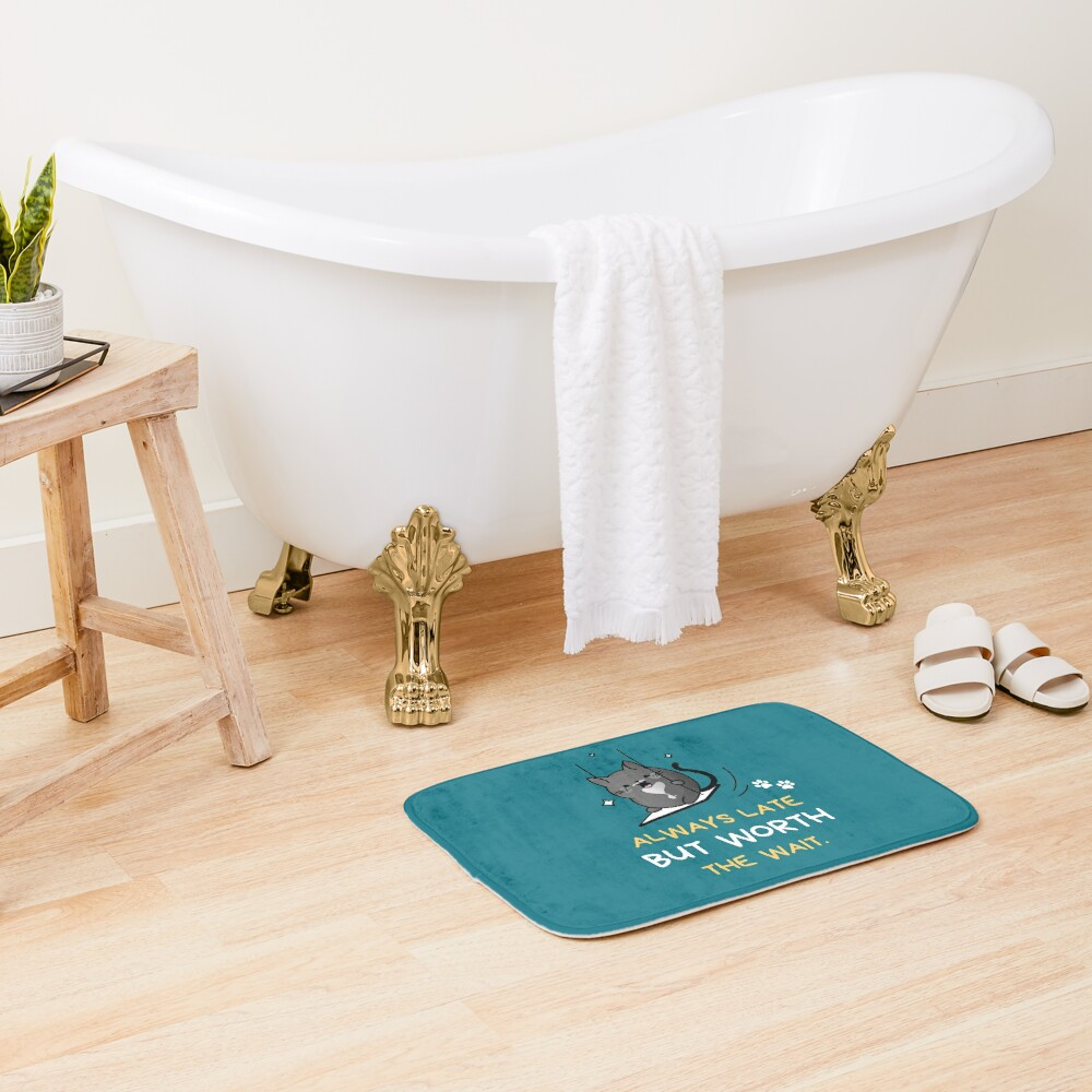 Always Late But Worth the Wait. Tuxedo Cat on a Swing Bath Mat