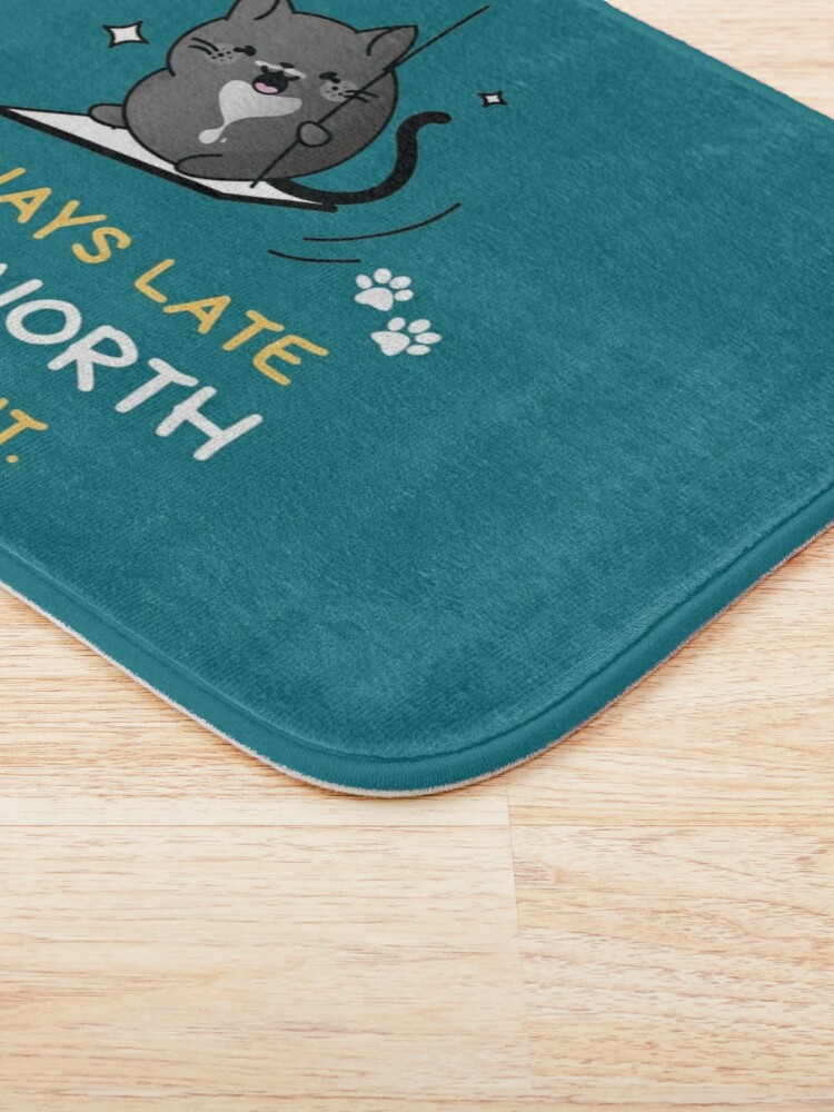 Alternate view of Always Late But Worth the Wait. Tuxedo Cat on a Swing Bath Mat