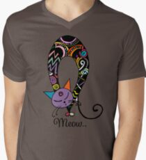 Rainbow cat silhouette collection. Black cats in various poses. Mens V-Neck T-Shirt