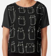 Textur mit bunten Katzen mit gebogenen Schwänzen. Kann für Textil-, Website-Hintergrund, Buchumschlag, Verpackung verwendet werden. Chiffontop
