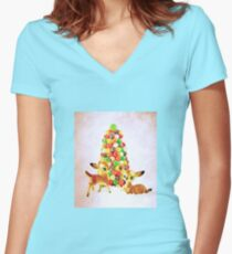 Vintage Fawns by Gumdrop Tree Women's Fitted V-Neck T-Shirt