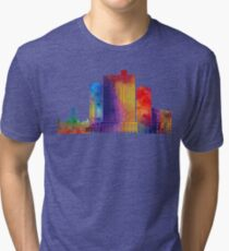 Fort Worth landmarks watercolor poster Tri-blend T-Shirt