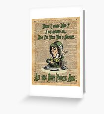 Mad Hatter,Alice in Wonderland,Madness Quote Vintage Dictionary Artwork Greeting Card