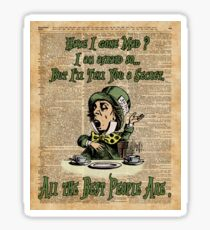 Mad Hatter,Alice in Wonderland,Madness Quote Vintage Dictionary Artwork Sticker