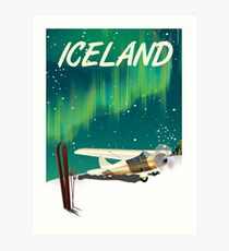 Iceland vintage style ski plane poster Art Print