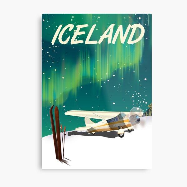 Iceland vintage style ski plane poster Metal Print