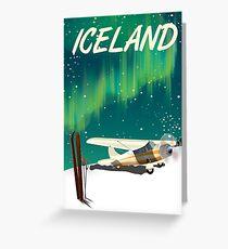 Iceland vintage style ski plane poster Greeting Card
