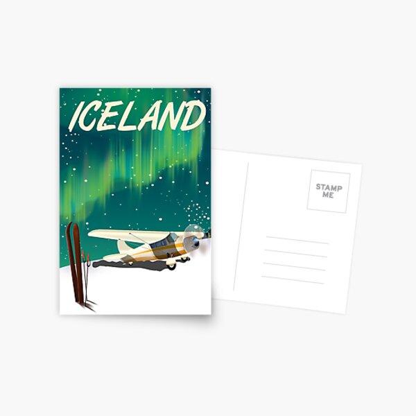 Iceland vintage style ski plane poster Postcard