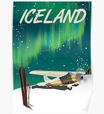 Island-Weinleseart-Skiflugzeugplakat Poster