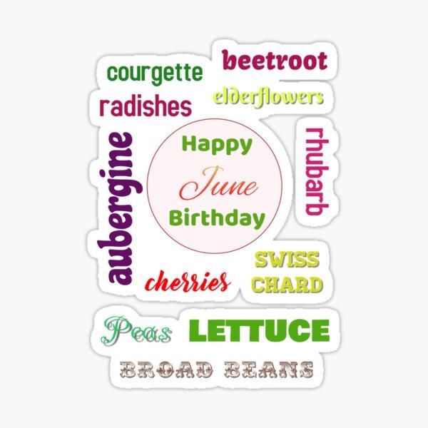 Happy June Birthday seasonal veggies Sticker