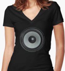 Black Speaker Women's Fitted V-Neck T-Shirt