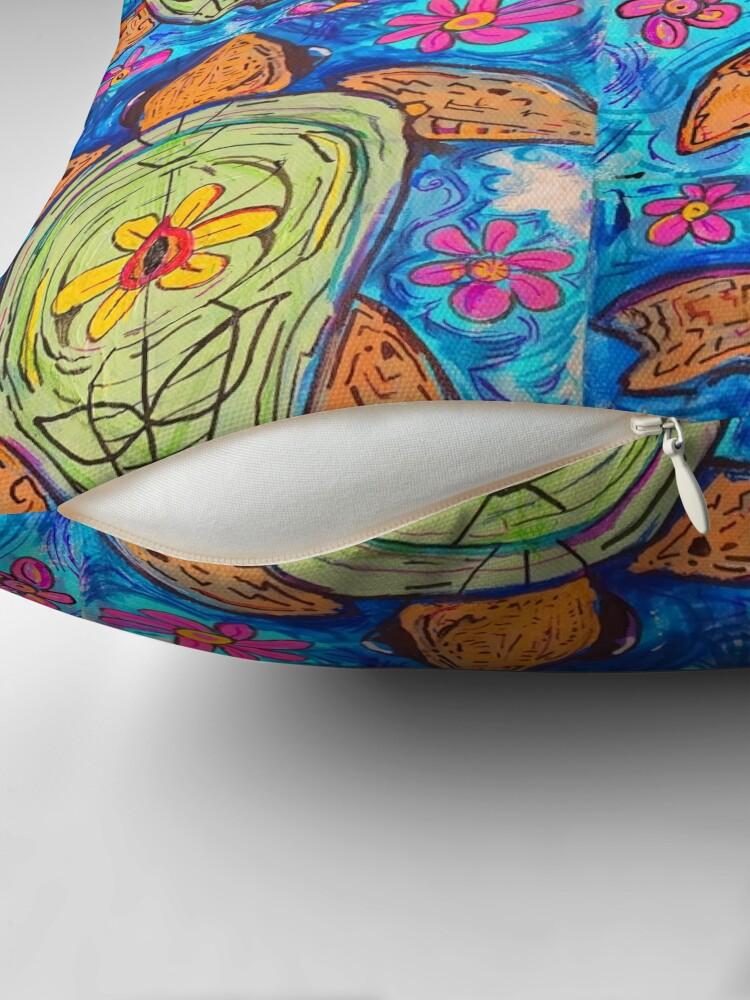 Alternate view of flower turtle  Throw Pillow