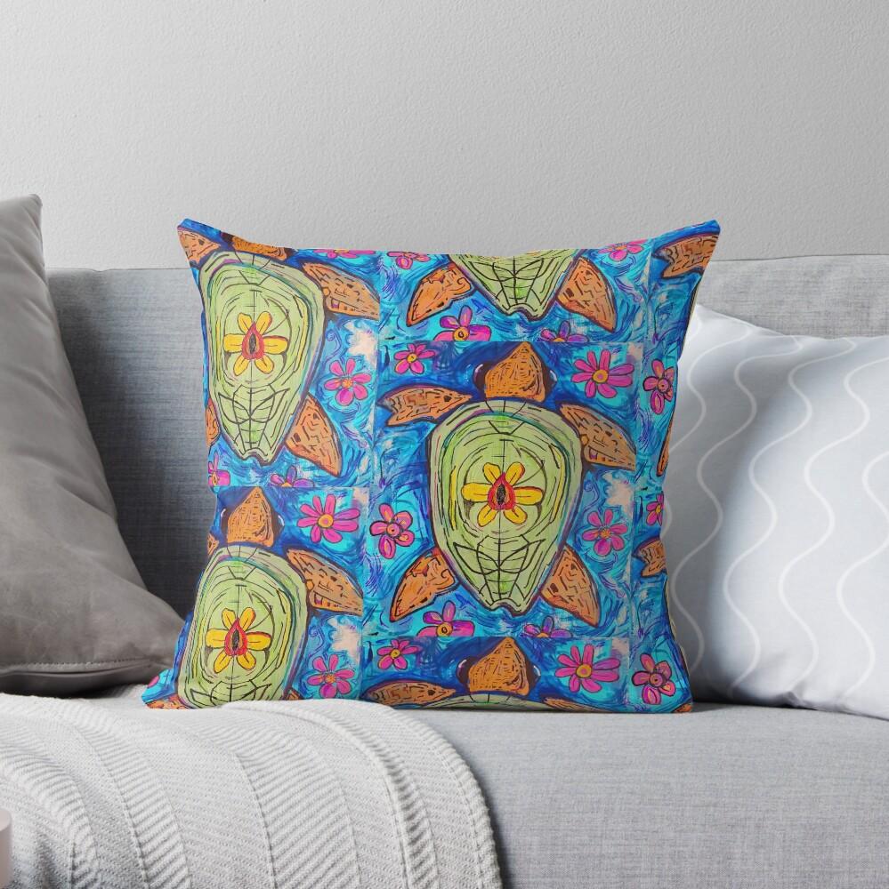 flower turtle  Throw Pillow