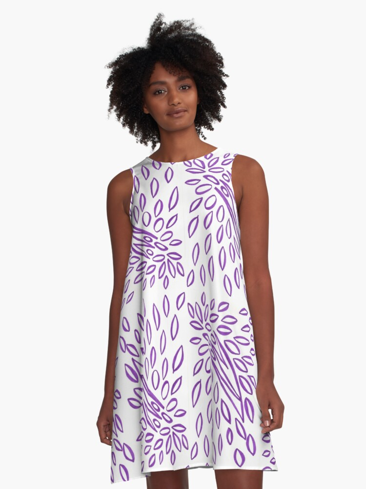 Passionately Purple - Lovely  Leaves A-Line Dress Front
