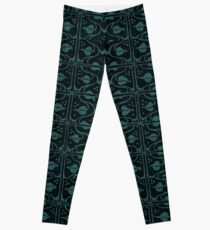 Vintage Leaf and Vines Turquoise Teal and Black Leggings